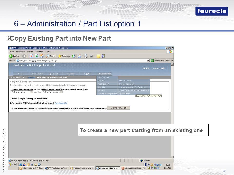 6 – Administration / Part List option 1
