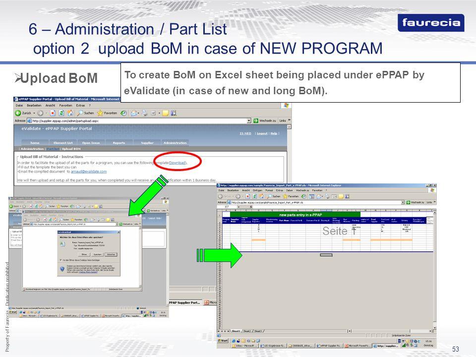 6 – Administration / Part List option 2 upload BoM in case of NEW PROGRAM