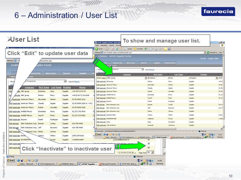 6 – Administration / User List