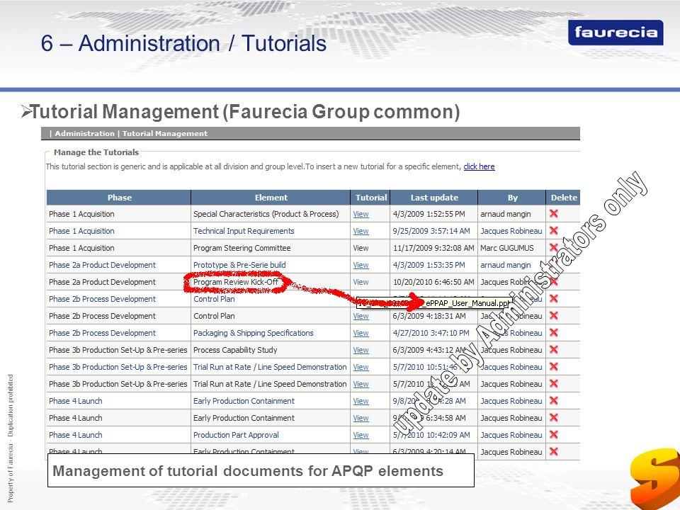 6 – Administration / Tutorials