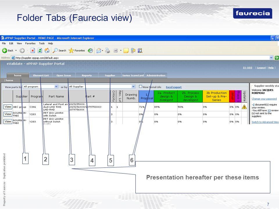Folder Tabs (Faurecia view)