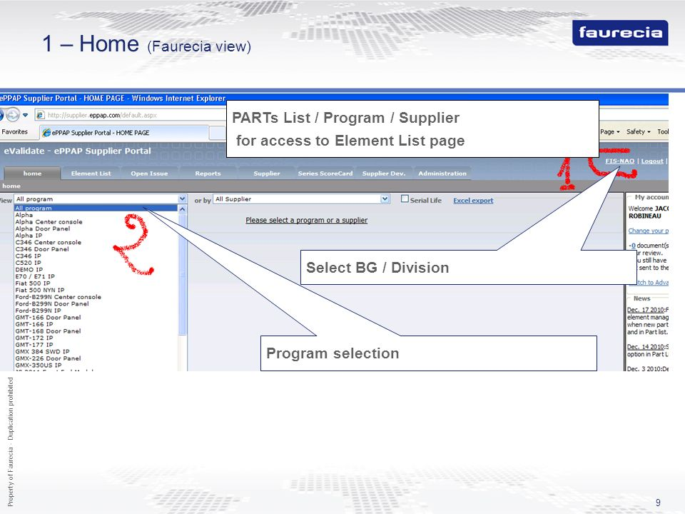 1 – Home (Faurecia view) PARTs List / Program / Supplier for access to Element List page. Select BG / Division.