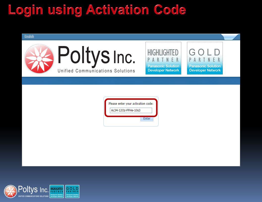 Login using Activation Code