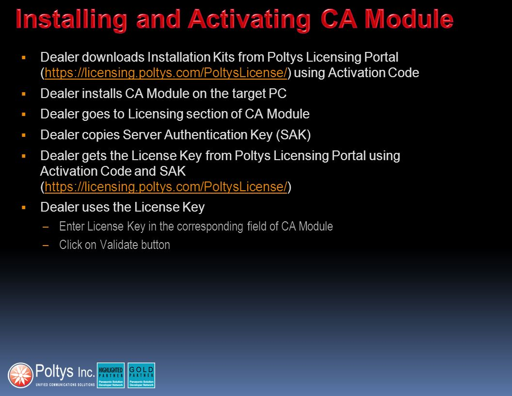 Installing and Activating CA Module