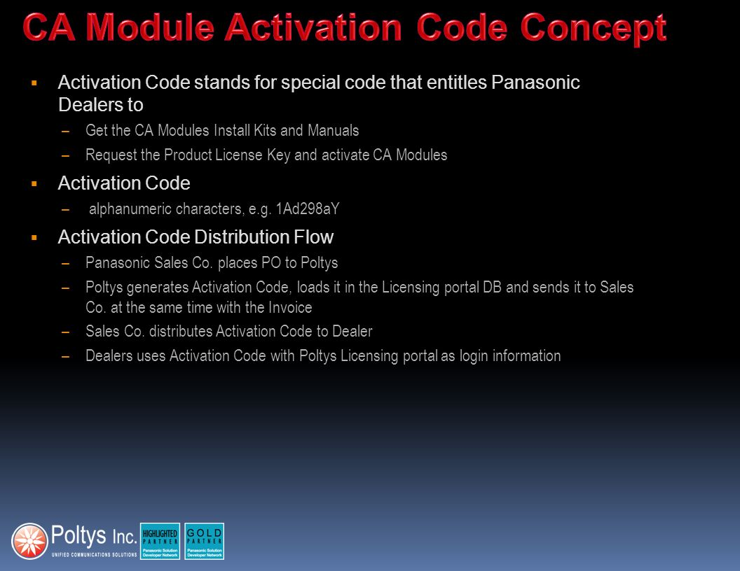 CA Module Activation Code Concept