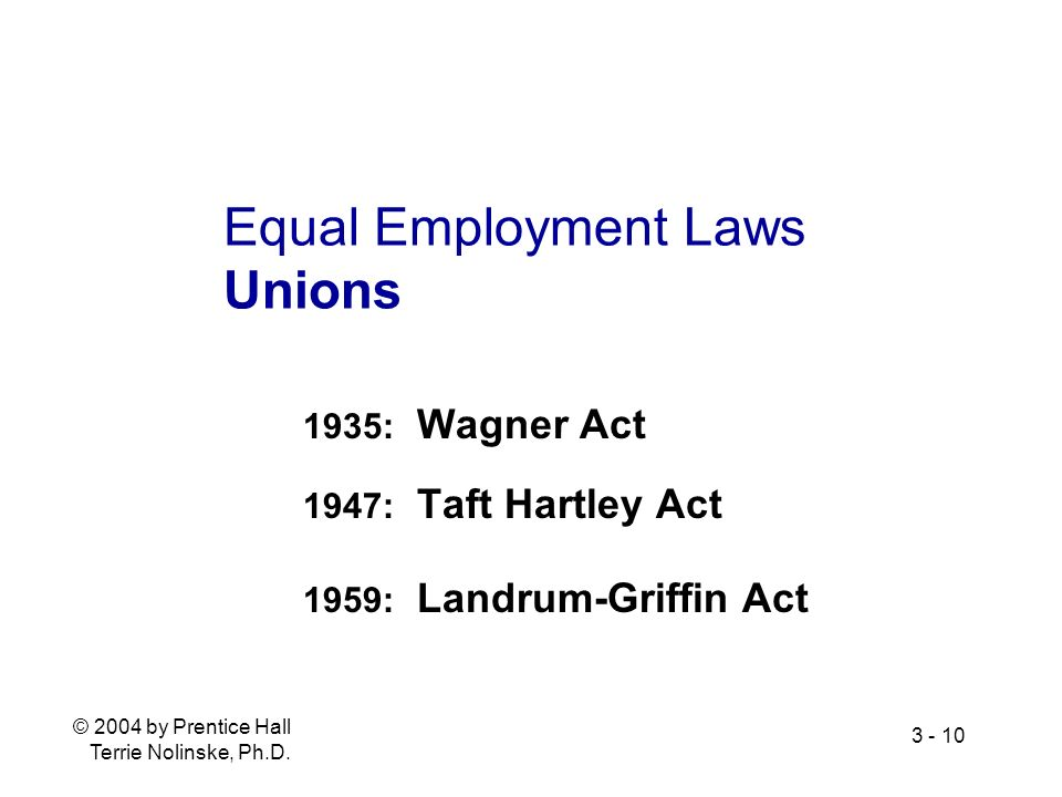 Equal Employment Laws Unions