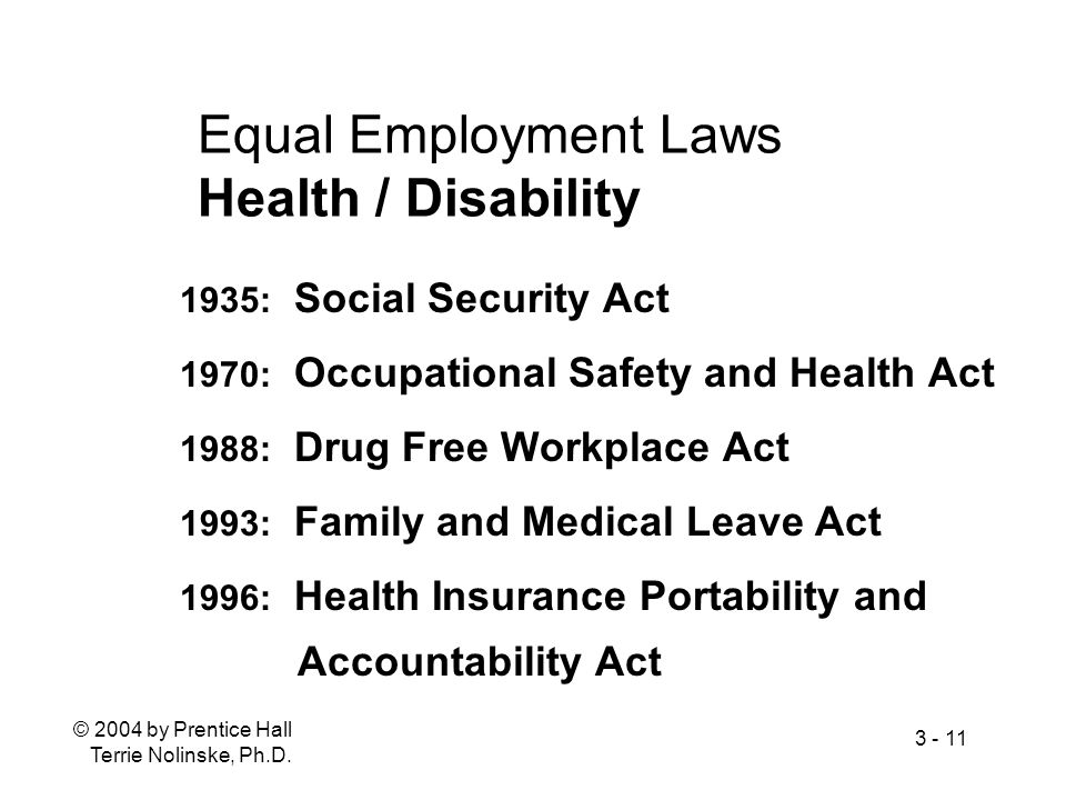 Equal Employment Laws Health / Disability