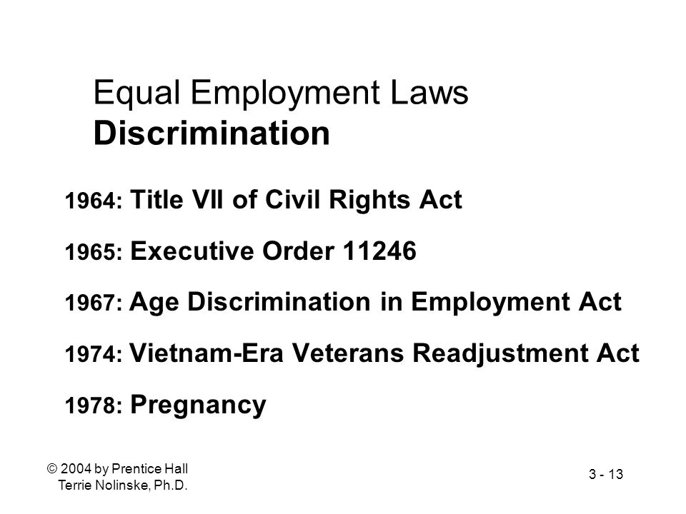 Equal Employment Laws Discrimination