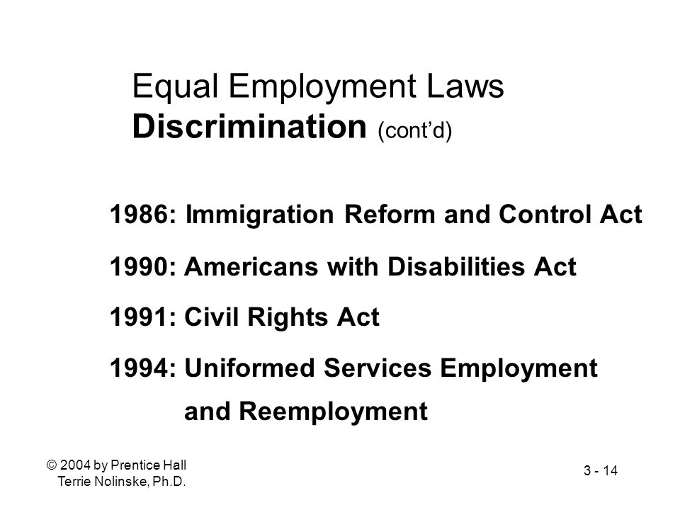 Equal Employment Laws Discrimination (cont'd)