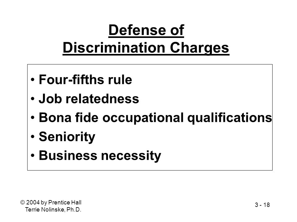 Defense of Discrimination Charges