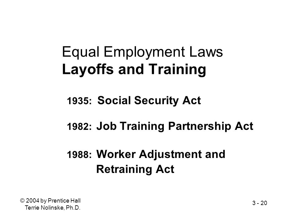 Equal Employment Laws Layoffs and Training