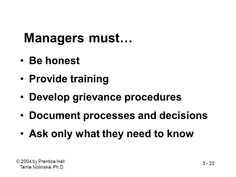Managers must… Be honest Provide training Develop grievance procedures