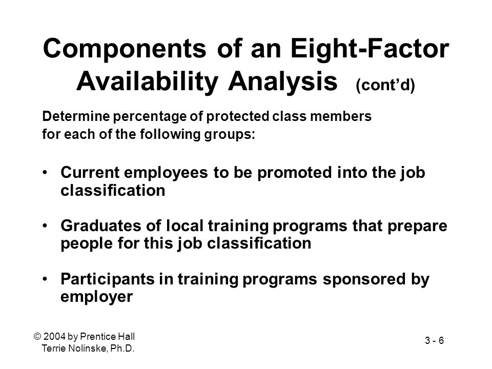 Components of an Eight-Factor Availability Analysis (cont'd)