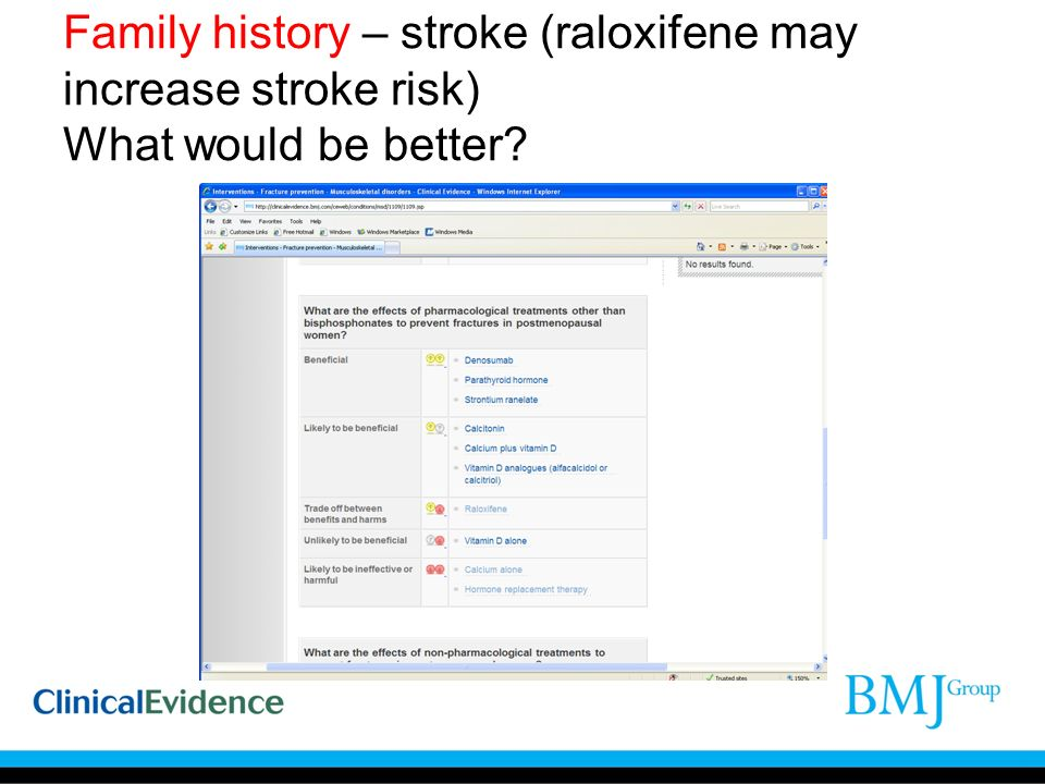 Family history – stroke (raloxifene may increase stroke risk) What would be better