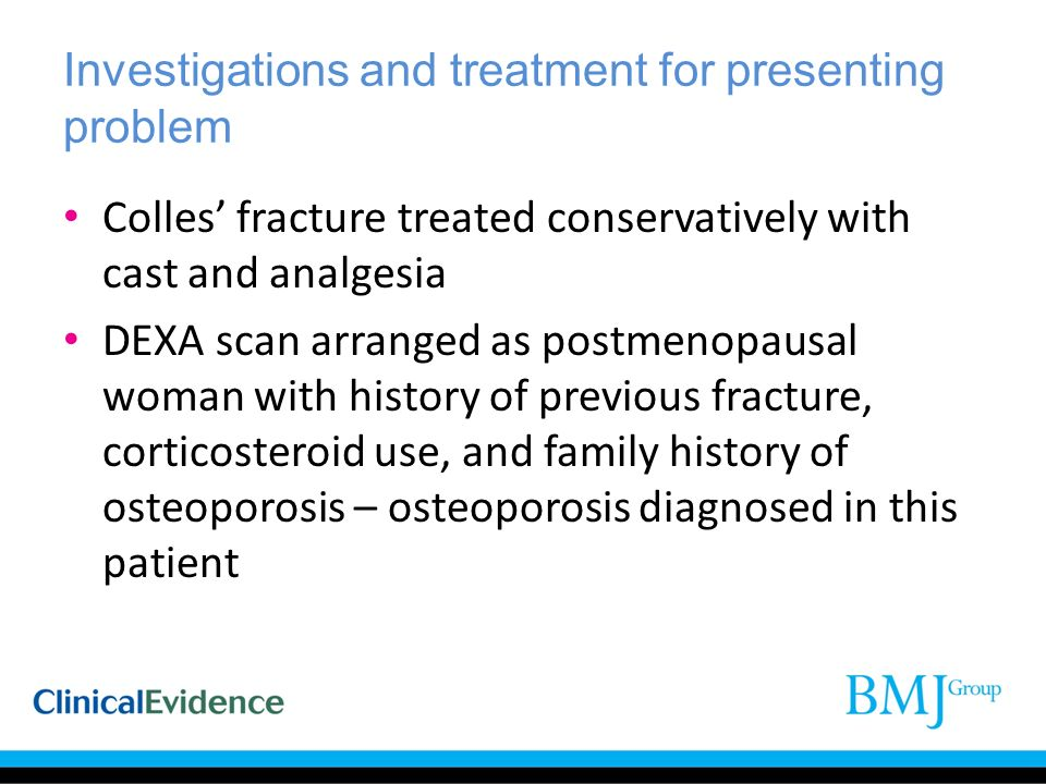 Investigations and treatment for presenting problem