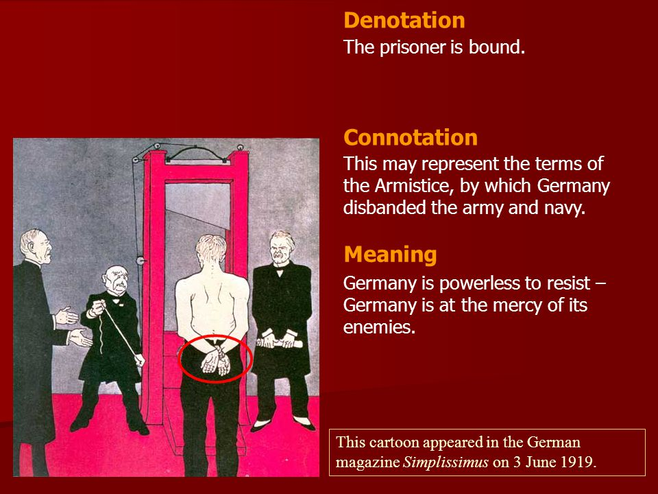 Denotation Connotation Meaning The prisoner is bound.