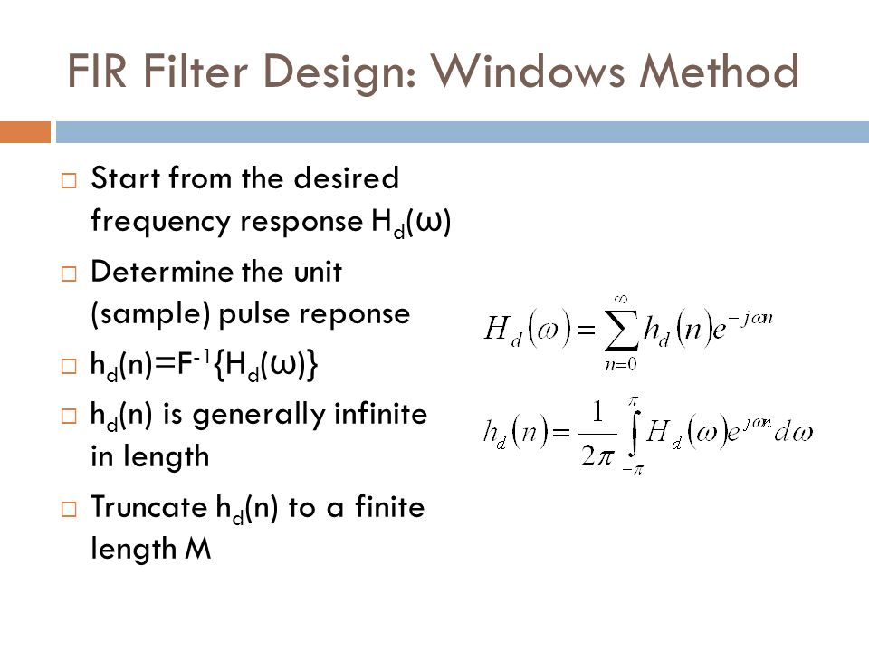 FIR Filter Design: Windows Method
