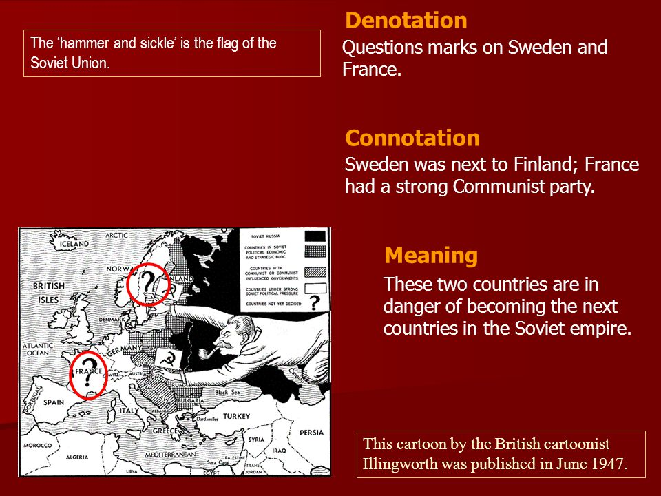 Denotation Connotation Meaning Questions marks on Sweden and France.