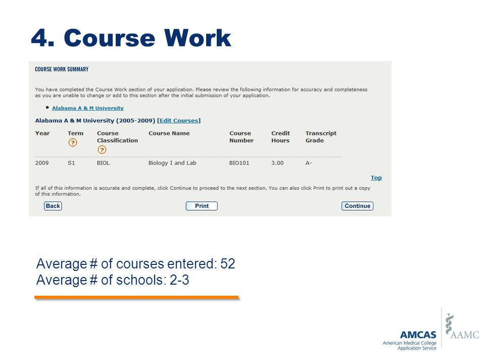 4. Course Work Average # of courses entered: 52
