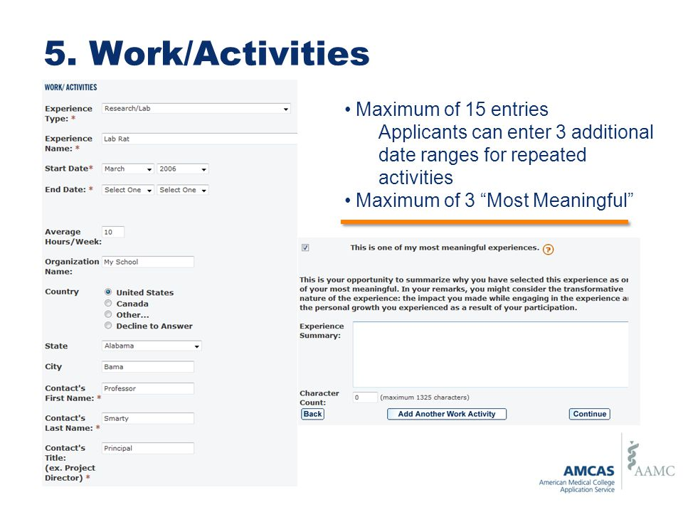 5. Work/Activities Maximum of 15 entries
