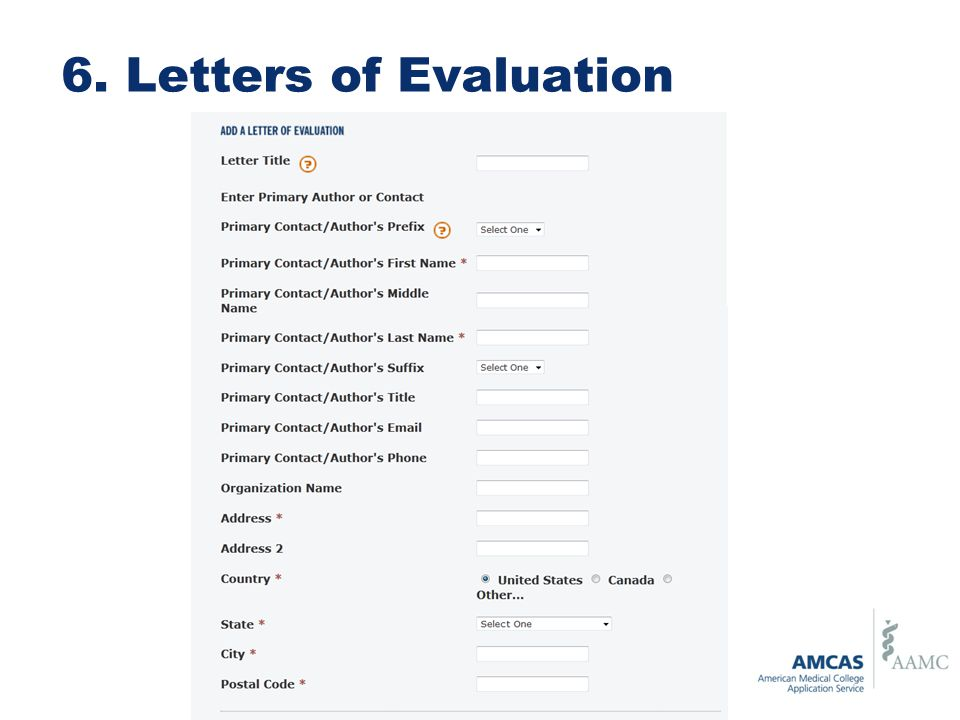 6. Letters of Evaluation