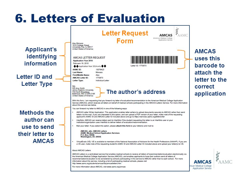 6. Letters of Evaluation Letter Request Form