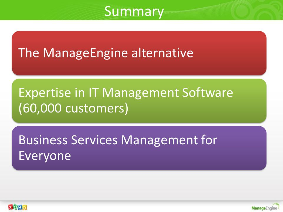 Summary The ManageEngine alternative