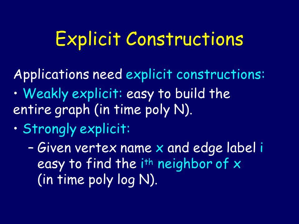 Explicit Constructions