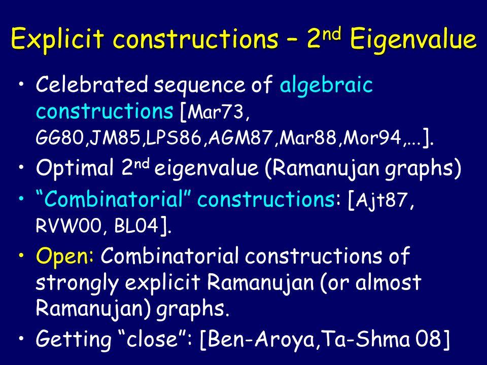 Explicit constructions – 2nd Eigenvalue