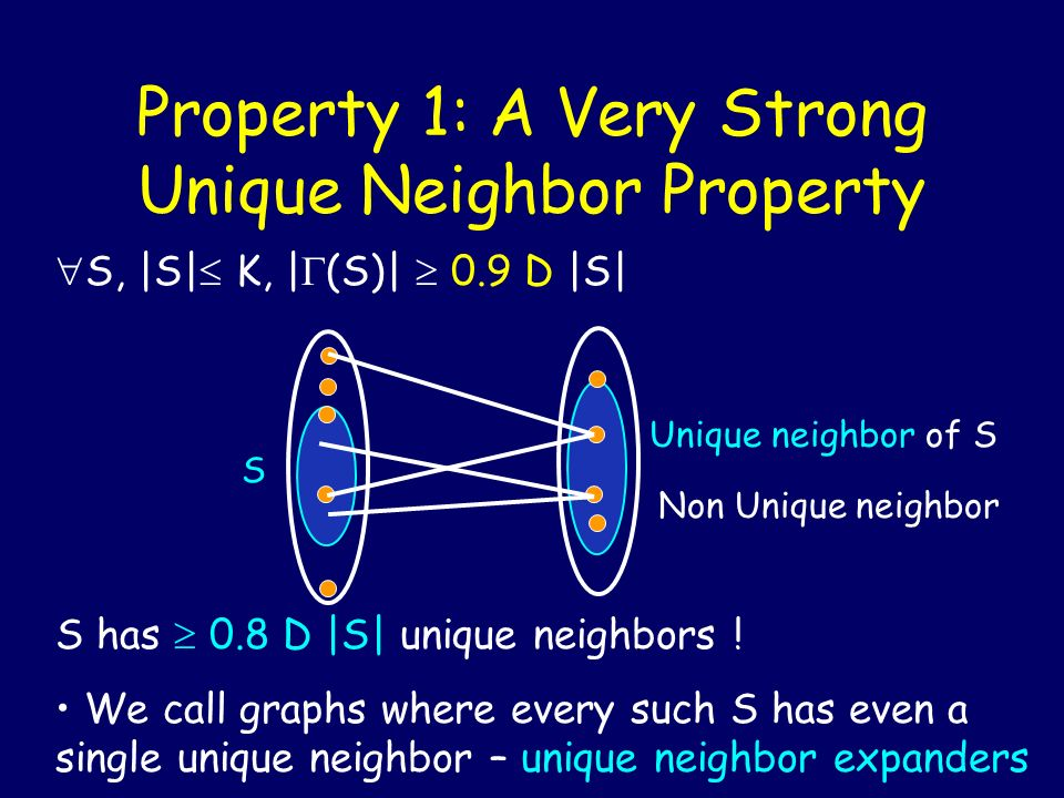 Property 1: A Very Strong Unique Neighbor Property