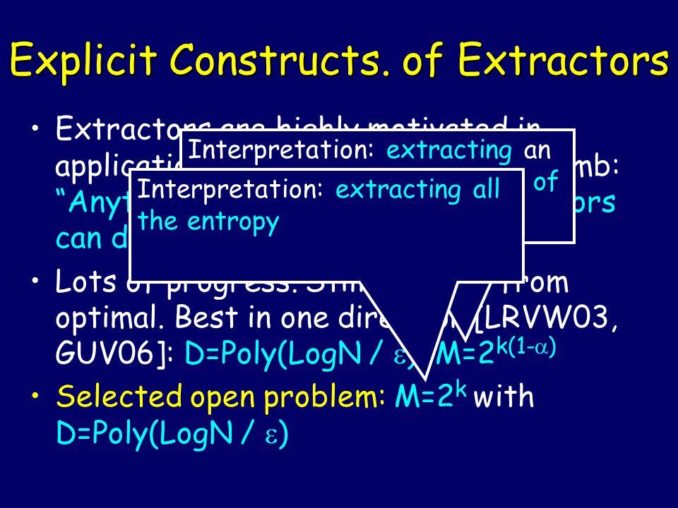 Explicit Constructs. of Extractors