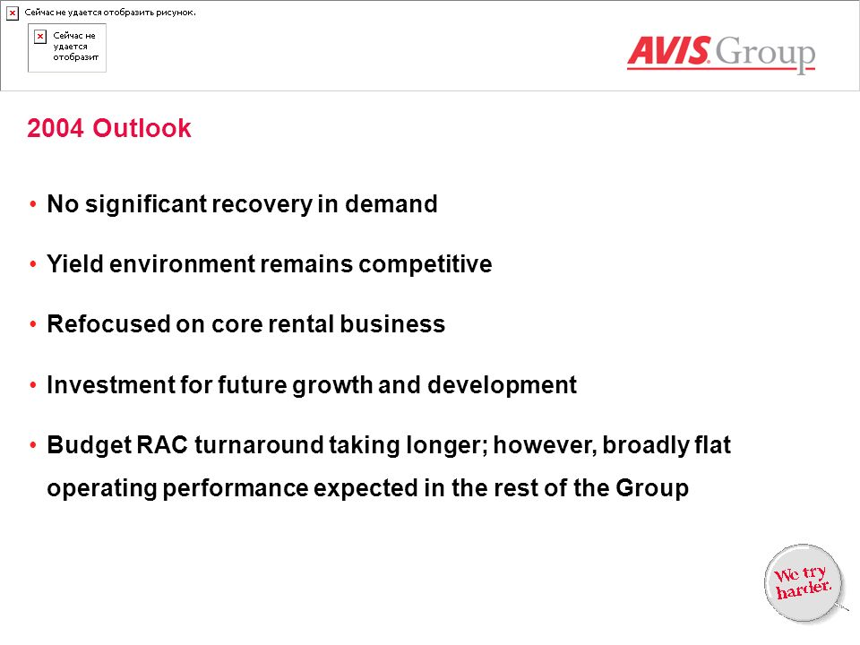 2004 Outlook No significant recovery in demand