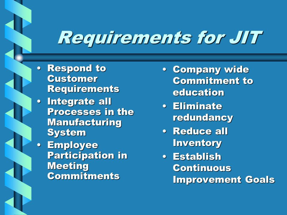 Requirements for JIT Respond to Customer Requirements