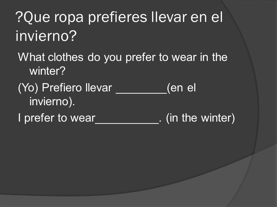 Que ropa prefieres llevar en el invierno
