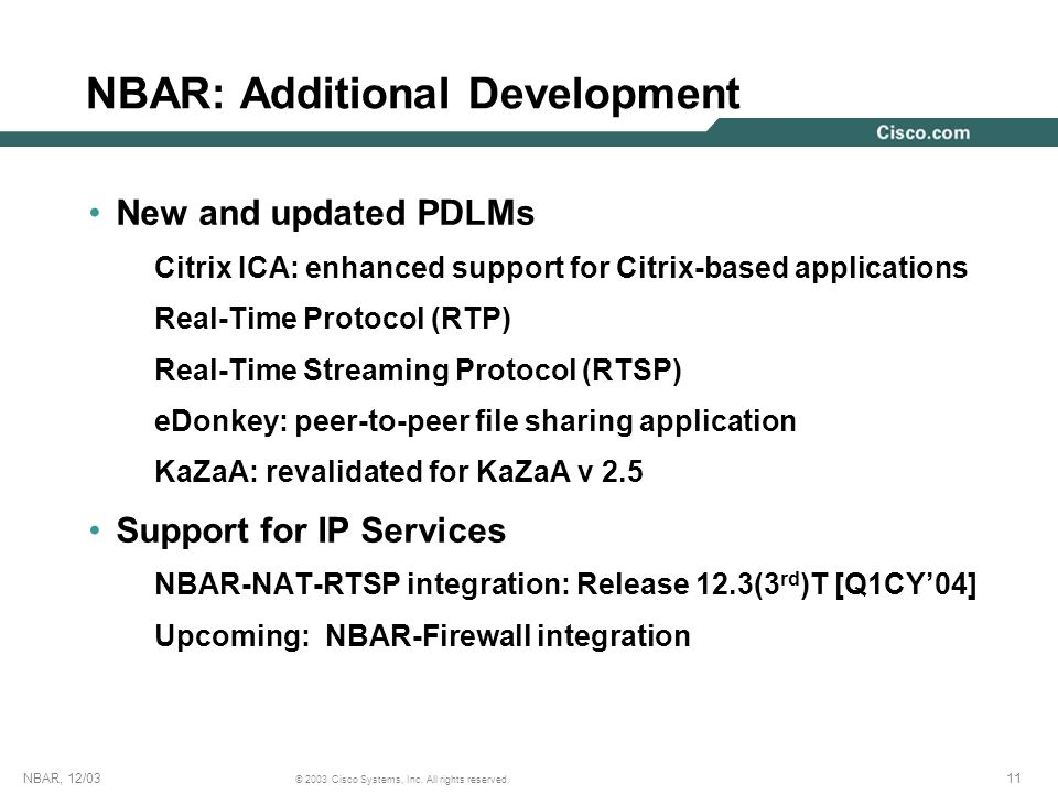 NBAR: Additional Development