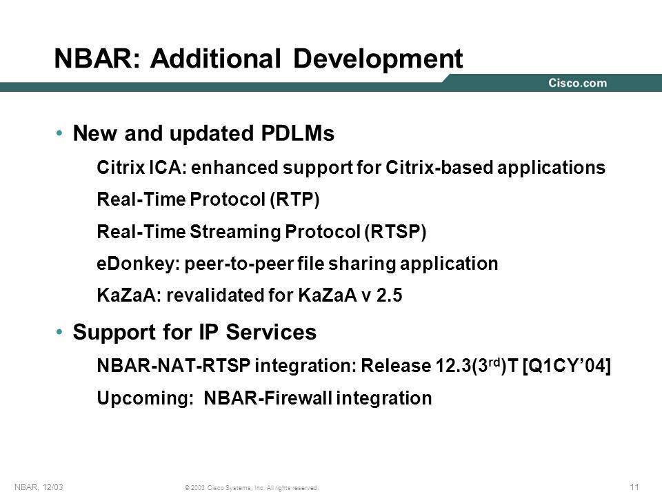 NBAR: Additional Development