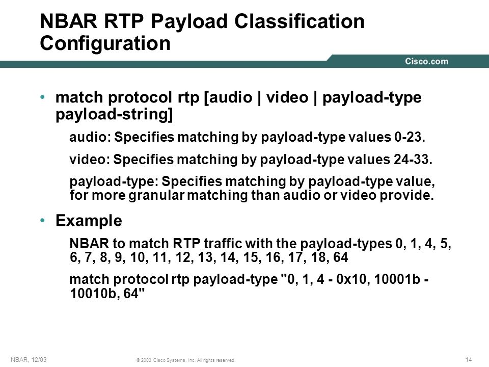 NBAR RTP Payload Classification Configuration
