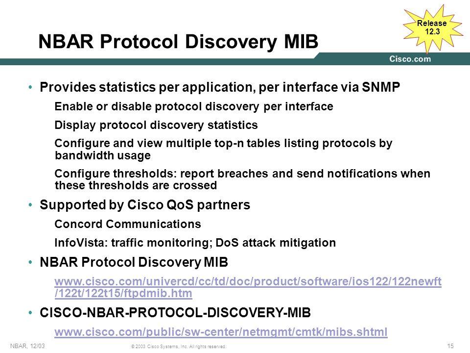NBAR Protocol Discovery MIB