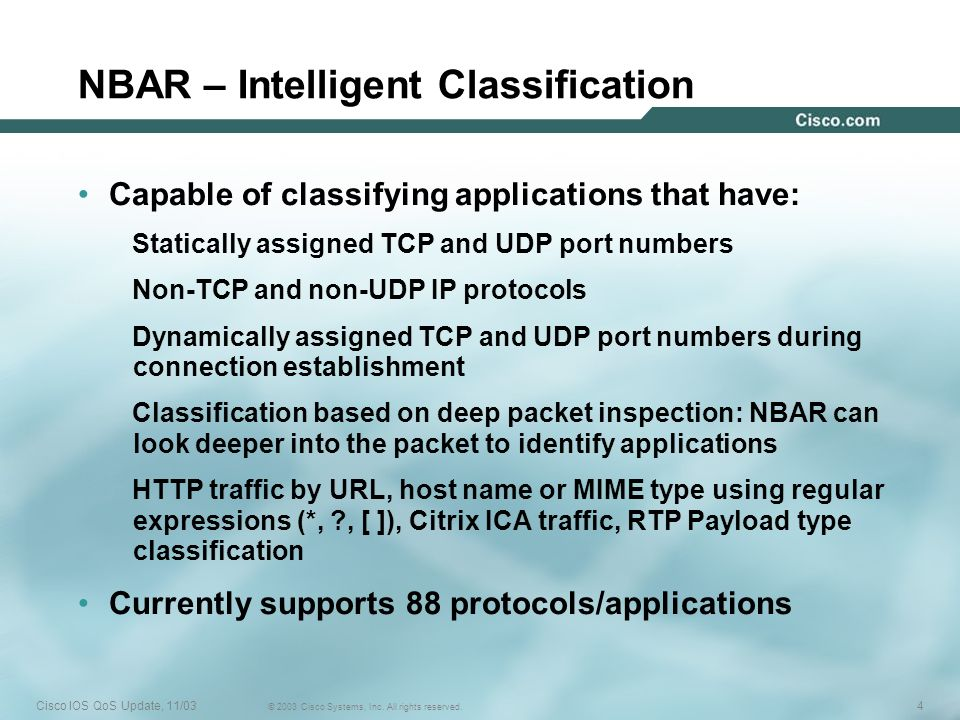 NBAR – Intelligent Classification