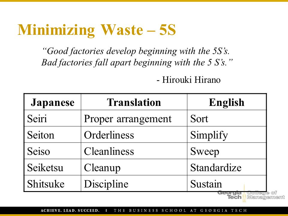 Minimizing Waste – 5S Japanese Translation English Seiri