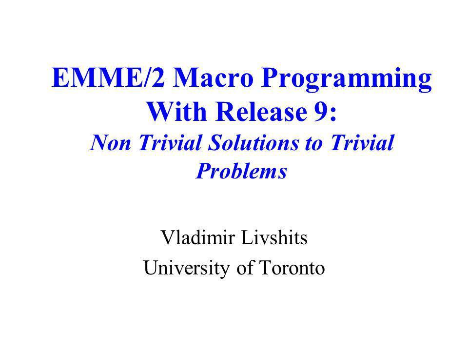 Vladimir Livshits University of Toronto