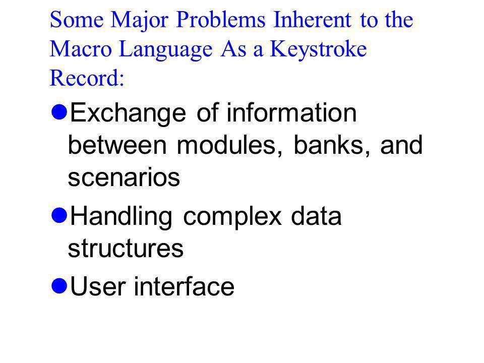 Exchange of information between modules, banks, and scenarios