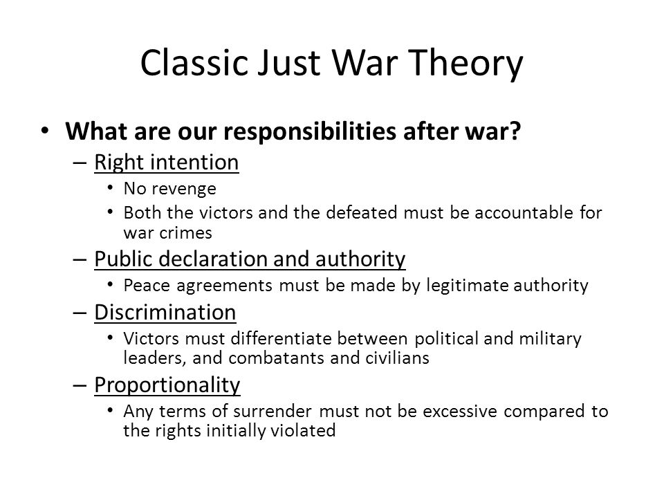 Classic Just War Theory