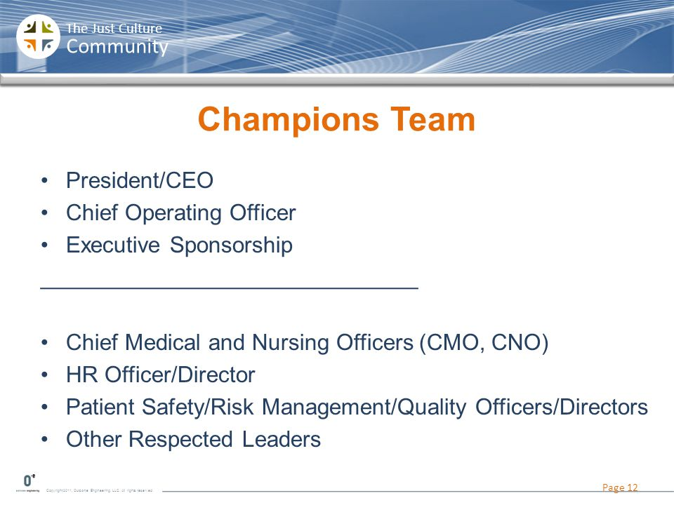 Champions Team President/CEO Chief Operating Officer
