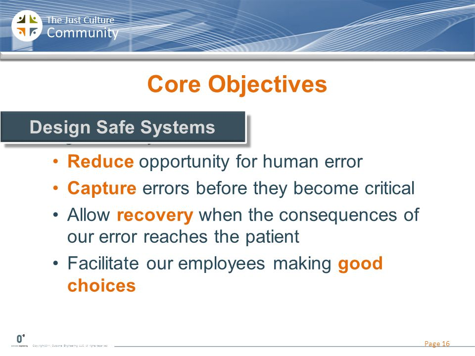 Core Objectives Design Safe Systems Design Safe Systems
