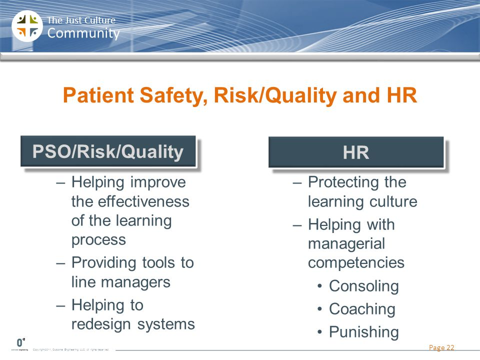 Patient Safety, Risk/Quality and HR