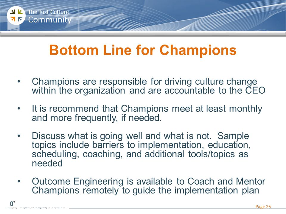 Bottom Line for Champions
