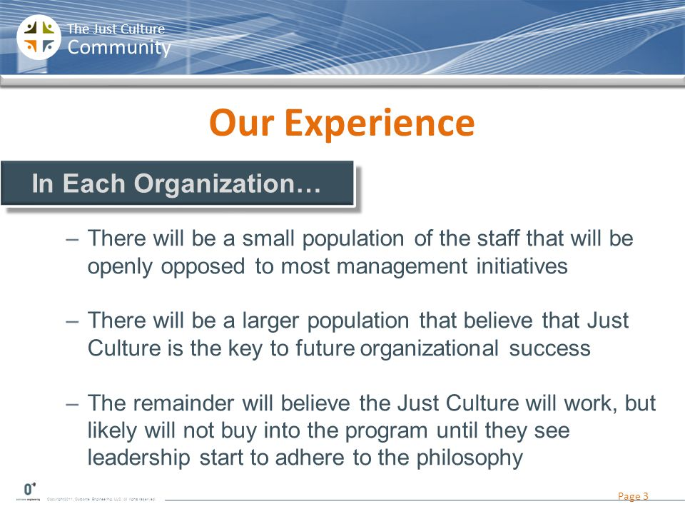 Our Experience In Each Organization…