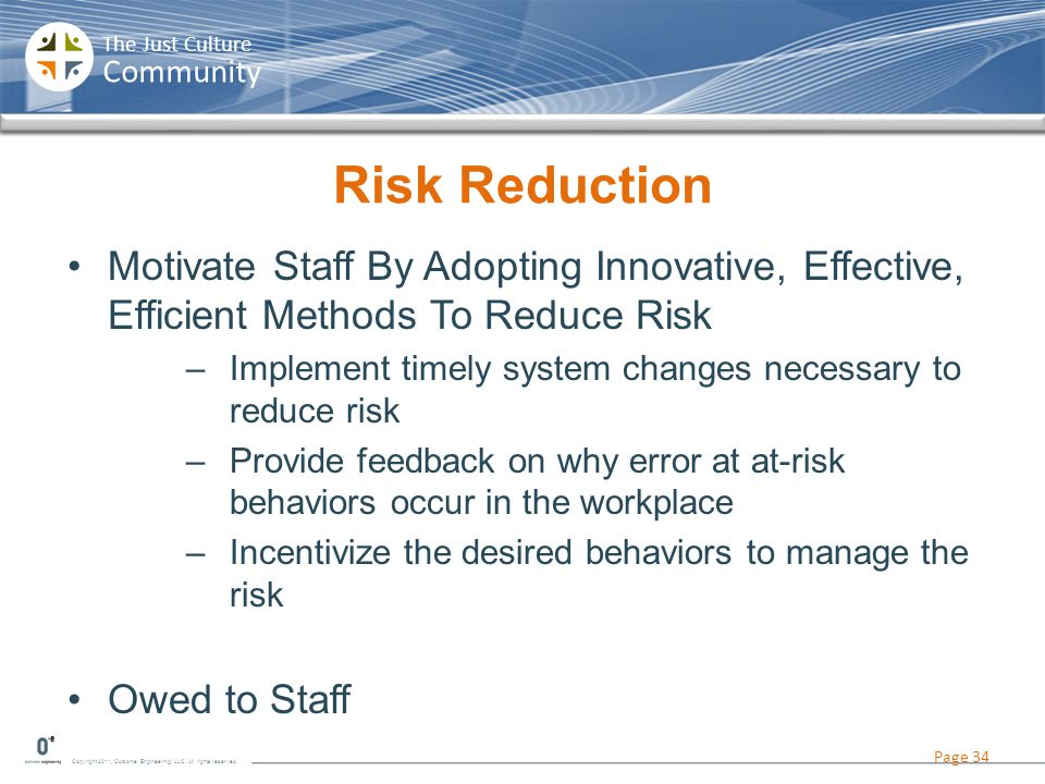 Risk Reduction Motivate Staff By Adopting Innovative, Effective, Efficient Methods To Reduce Risk.