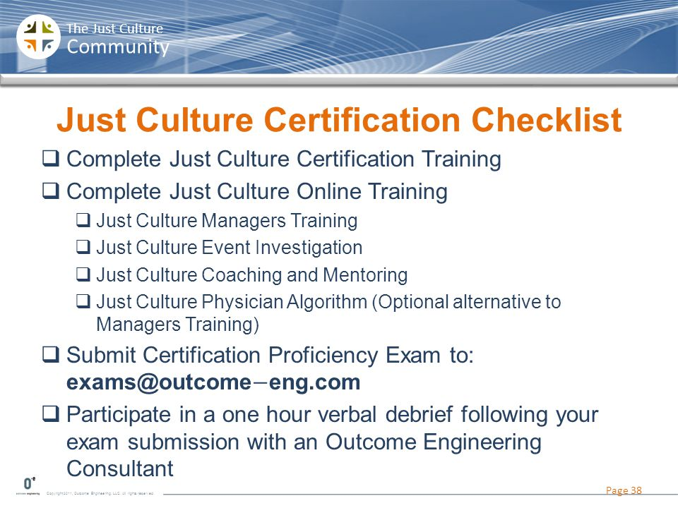 Just Culture Certification Checklist
